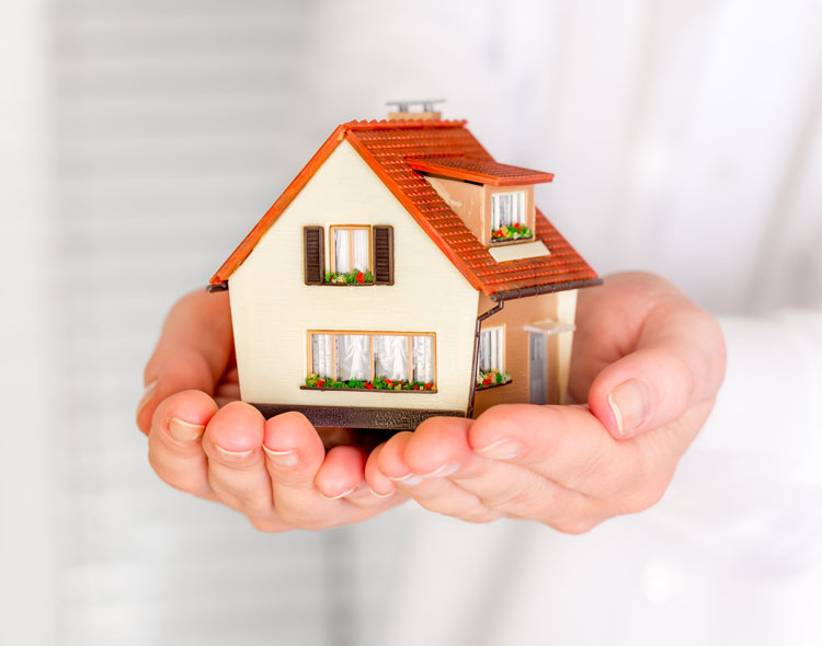 House in human hands for services