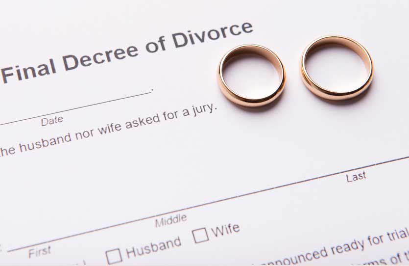 Divorce two golden wedding rings on final divorce decree